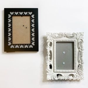 Other - White Ornate Picture Frame & Heart Frame Bundle